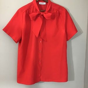 Vintage 70s Red Short Sleeve Pussy Bow Blouse